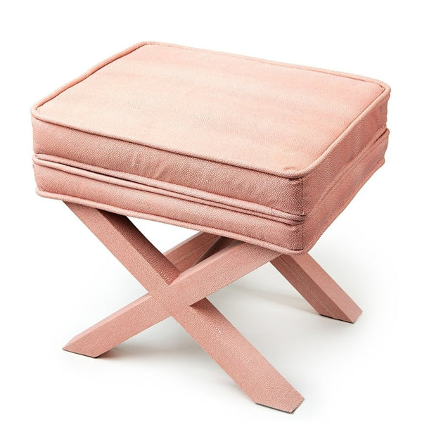 Coral Shagreen Bench - Two's Company - Miami Baby Store