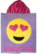 Hooded Custom Towel Emoji Love - Give Wink