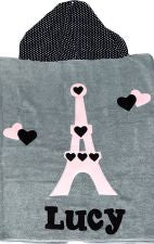 Hooded Custom Towel Eiffel Tower - Give Wink