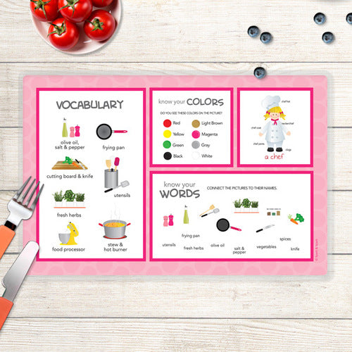 Spark & Spark. Girl Chef Personalized Kids Placemat. Back