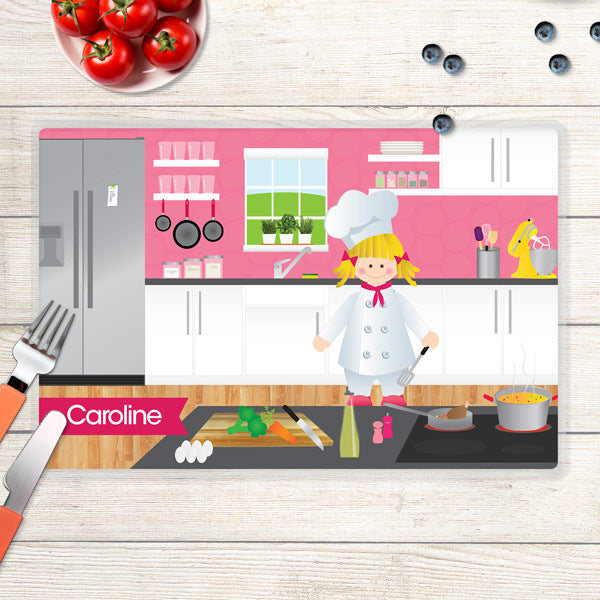 Spark & Spark. Girl Chef Personalized Kids Placemat. Blonde