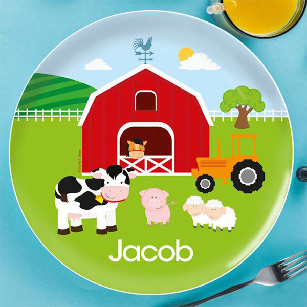 A Day In The Farm Personalized Kids Plates
