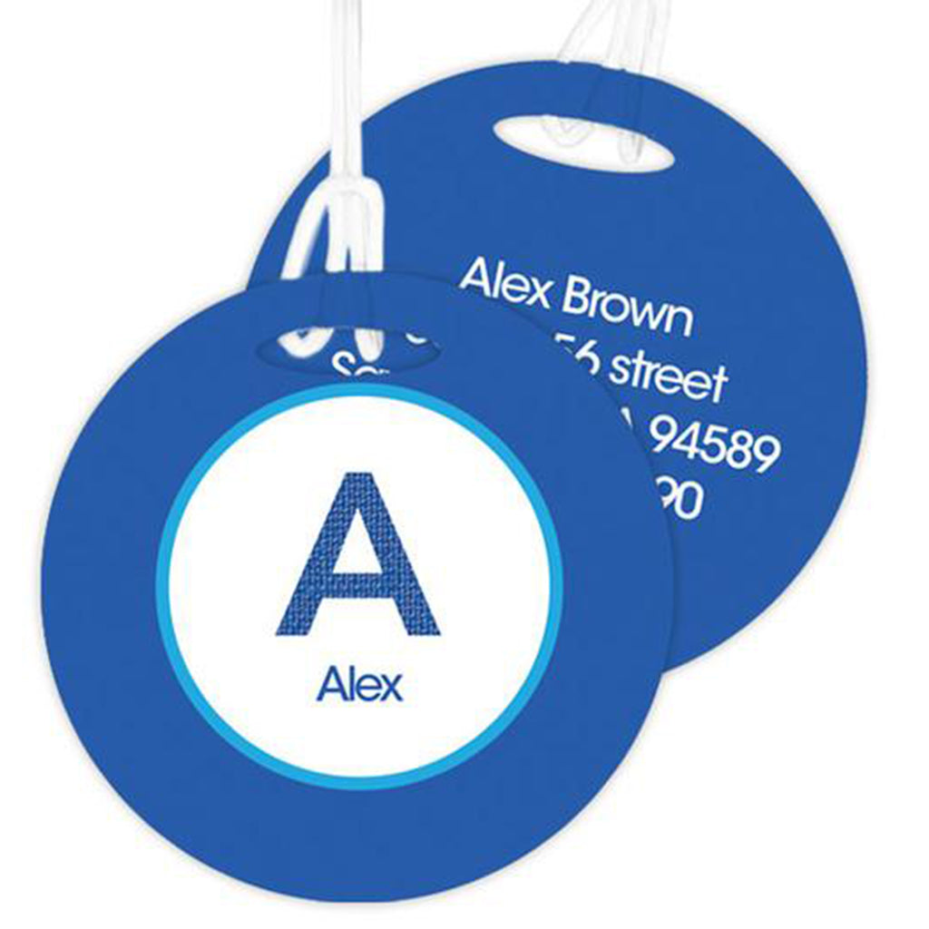 A Linen Blue Letter Personalized Bag Tag - Give Wink