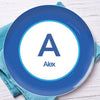 A Linen Blue Letter Personalized Kids Plates - Give Wink