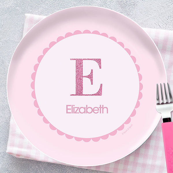 A Shiny Pink Letter Personalized Kids Plates - Give Wink