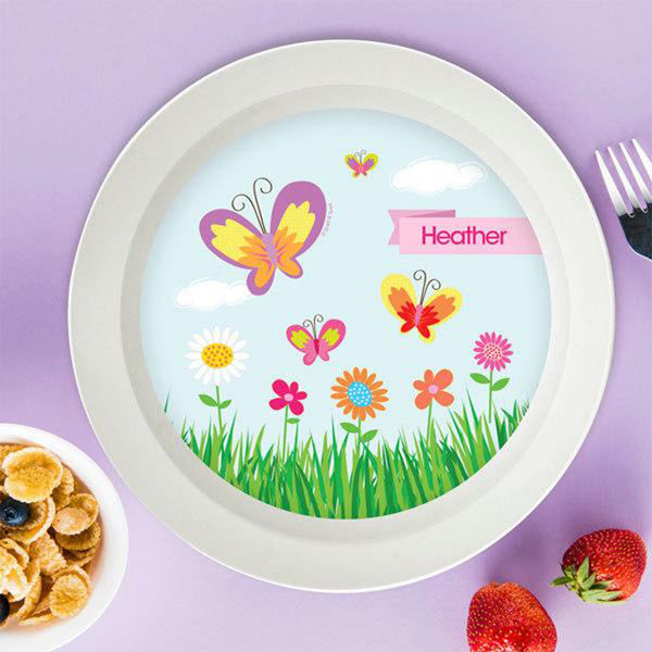A Butterfly Field Personalized Kids Bowl - Give Wink