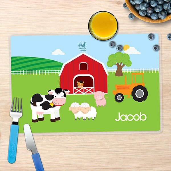 A Day in the Farm Personalized Kids Placemat - Give Wink
