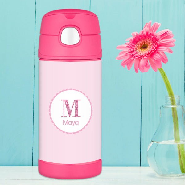 A Shiny Pink Letter Personalized Thermos Bottle - Give Wink