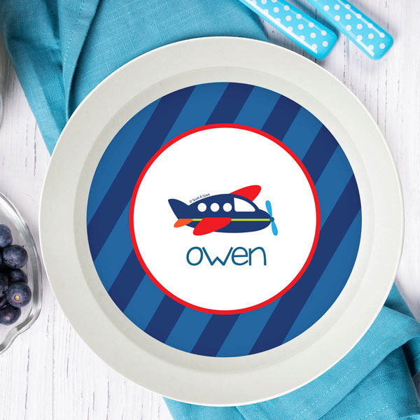 Airplane Ride Personalized Kids Bowl - Give Wink