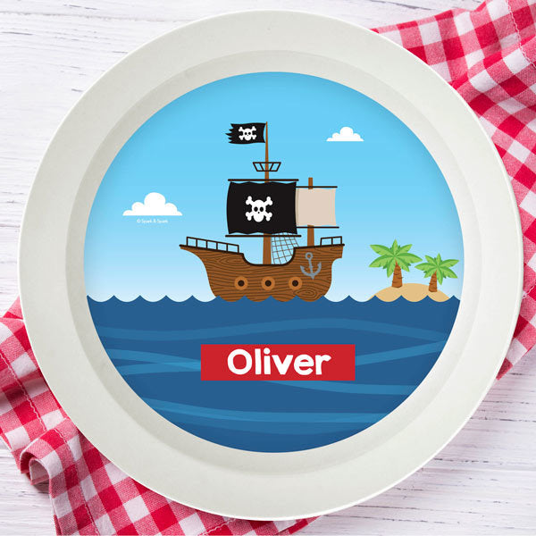 All Aboard Pirates Personalized Kids Bowl - Give Wink
