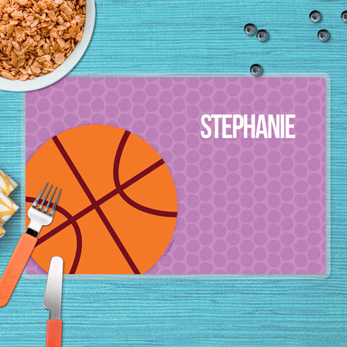 Girl Basketball Fan-Purple Personalized Kids Placemat - Give Wink