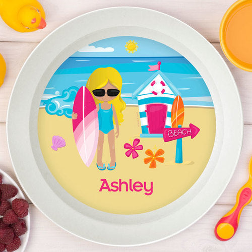 Beach Girl Personalized Kids Bowl - Give Wink