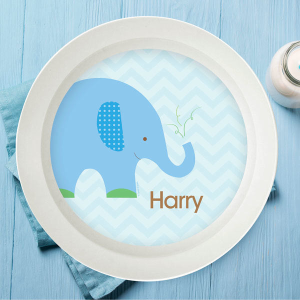 Blue Baby Elephant Personalized Kids Bowl - Give Wink
