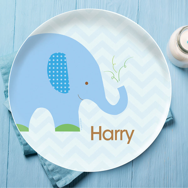 Blue Baby Elephant Personalized Kids Plates - Give Wink