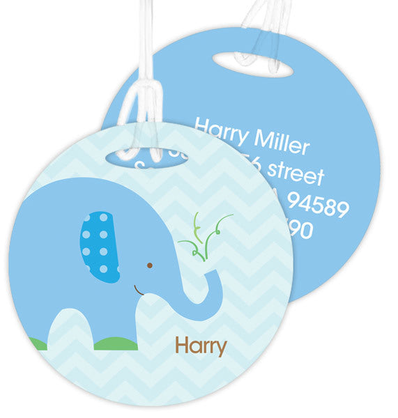 Blue Baby Elephant Personalized Bag Tag - Give Wink