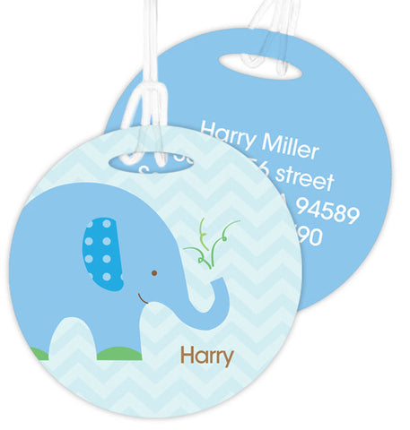 Blue Baby Elephant Personalized Bag Tag