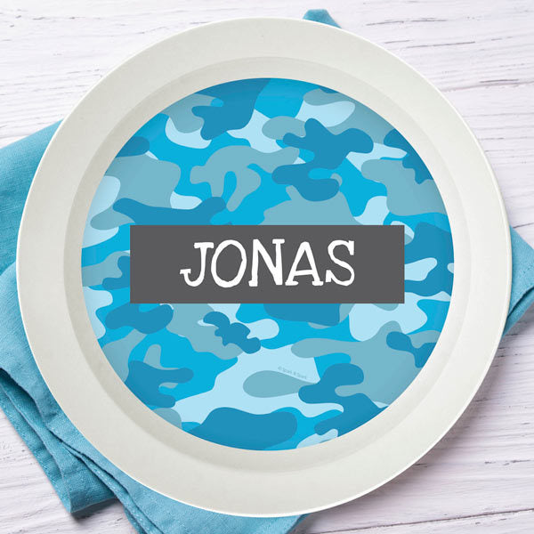 Blue Camo Personalized Kids Bowl - Give Wink