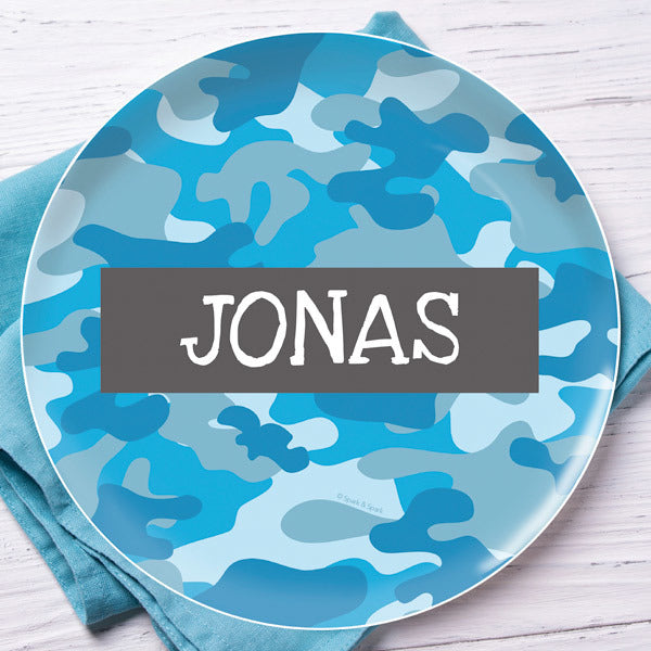 Blue Camo Personalized Kids Plates - Give Wink
