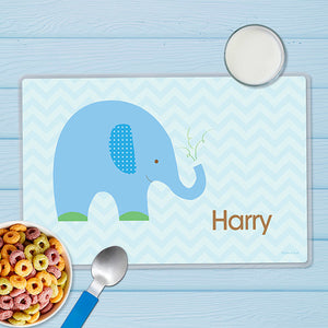 Blue Baby Elephant Personalized Kids Placemat - Give Wink