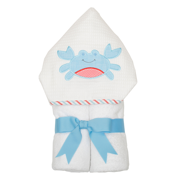 Crab Hooded Towel - 3Marthas - Miami Baby Store - Blue