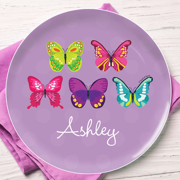 Bright Butterflies Personalized Kids Plates - Give Wink