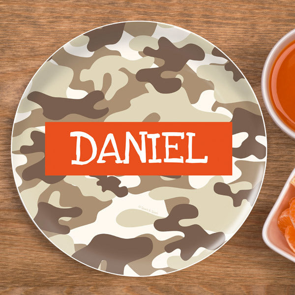 Brown Camo Personalized Kids Plates - Give Wink