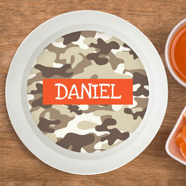 Brown Camo Personalized Kids Bowl - Give Wink