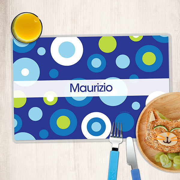 Blue Circles and Circles Personalized Kids Placemat