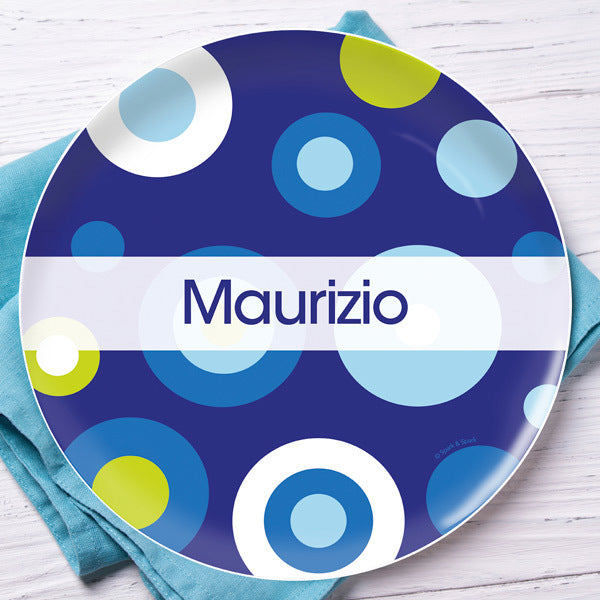 Blue Circles And Circles Personalized Kids Plates