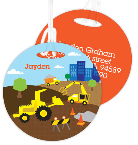 Construction Site Personalized Bag Tag