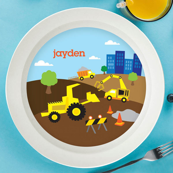 Construction Site Personalized Kids Bowl - Give Wink