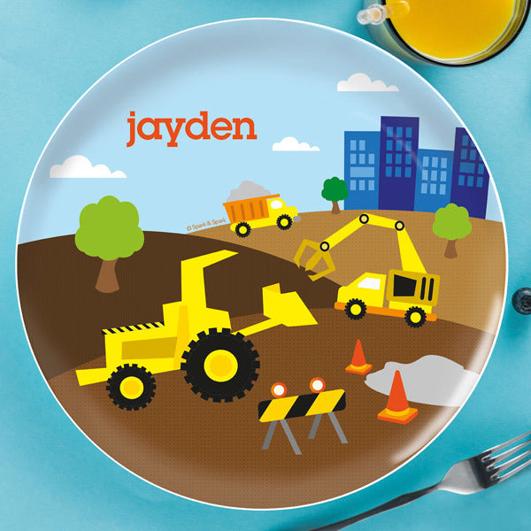 Construction Site Personalized Kids Plates - Give Wink
