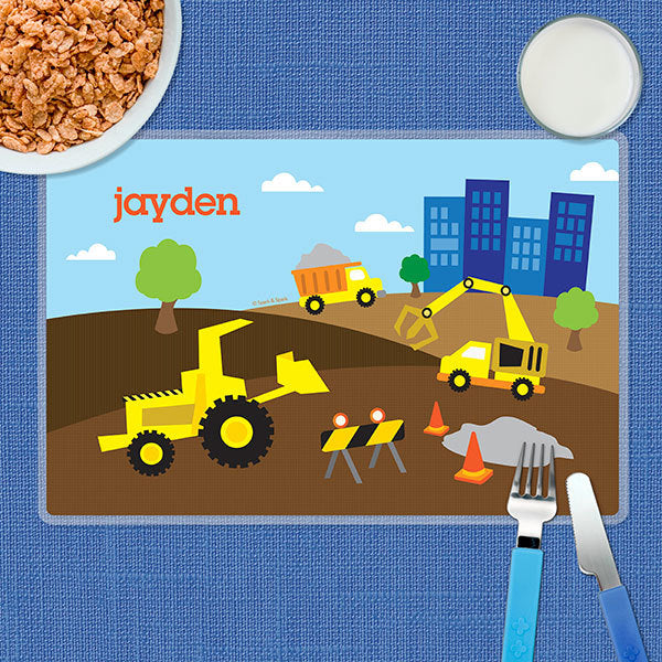 Construction Site Personalized Kids Placemat