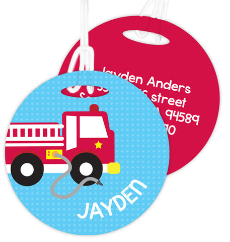 Cool Fire Truck Personalized Bag Tag
