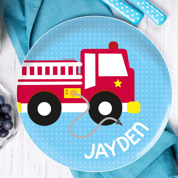 Cool Fire Truck Personalized Kids Plates - Give Wink