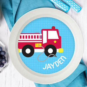 Cool Fire Truck Personalized Kids Bowl - Give Wink