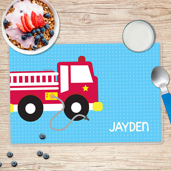 Cool Fire Truck Personalized Kids Placemat - Give Wink