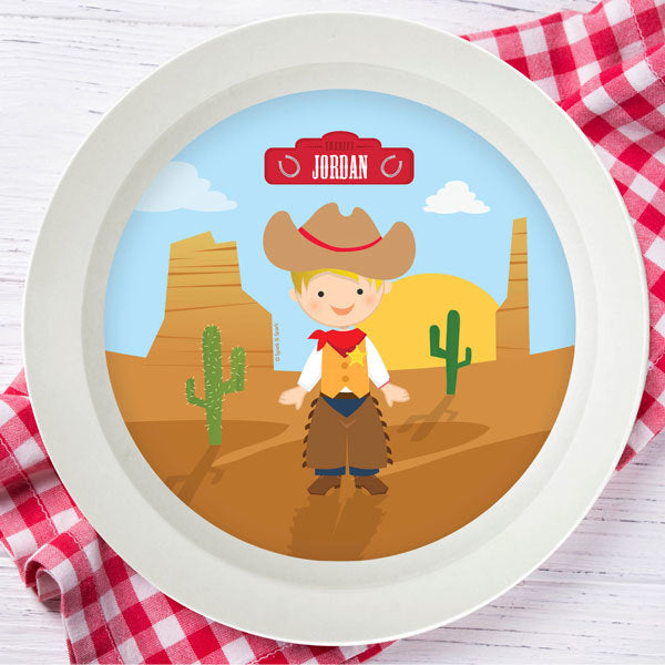 Cowboy Personalized Kids Bowl - Give Wink