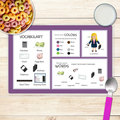Girl Crunching Numbers Personalized Kids Placemat - Give Wink