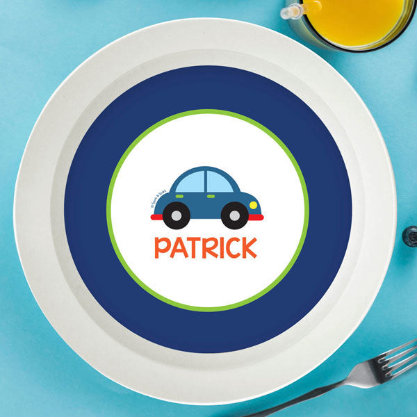 Cute Little Car Personalized Kids Bowl - Give Wink