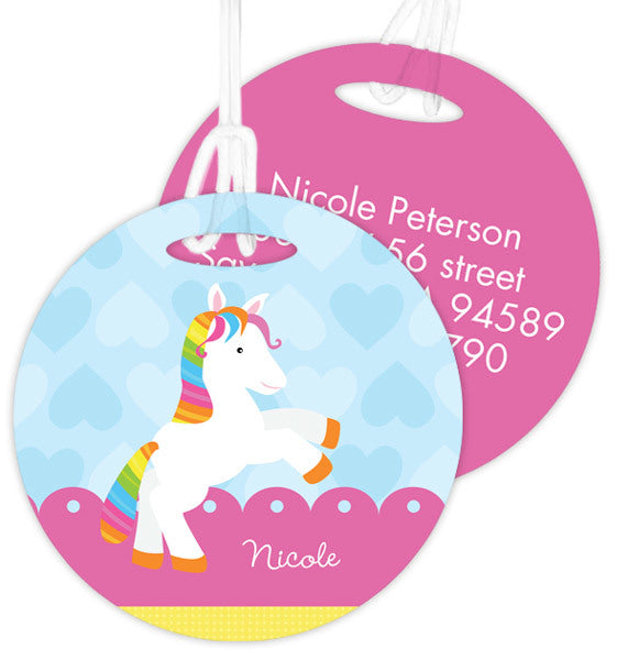 Cute Rainbow Pony Personalized Bag Tag - Give Wink