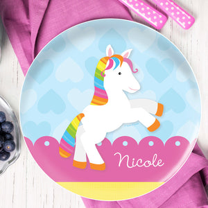Cute Rainbow Pony Personalized Kids Plates - Give Wink