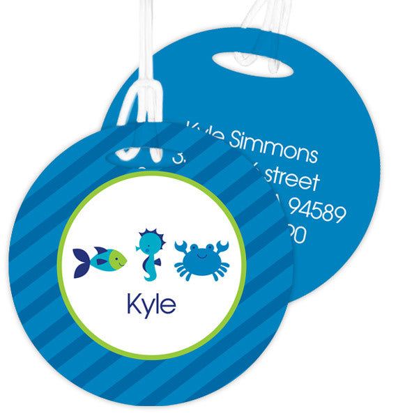 Cute Undersea Creatures Personalized Bag Tag - Give Wink