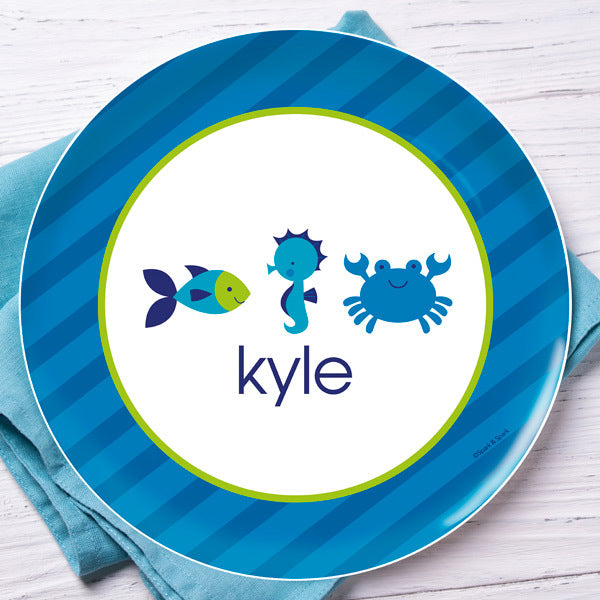 Cute Undersea Creatures Personalized Kids Plates - Give Wink