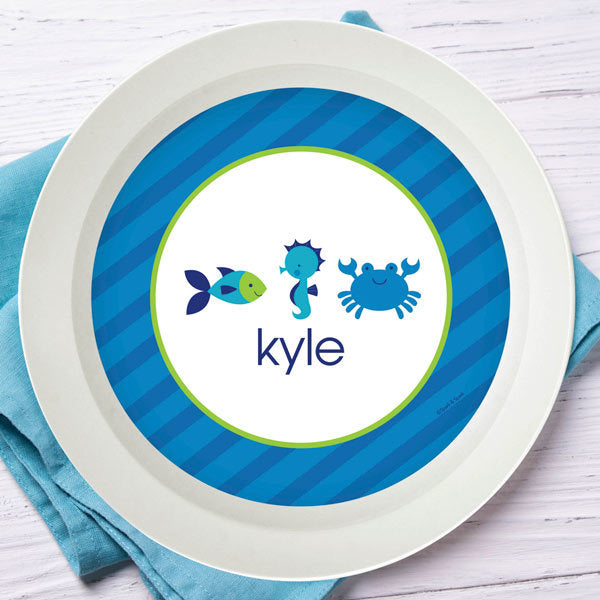Cute Undersea Creatures Personalized Kids Bowl - Give Wink