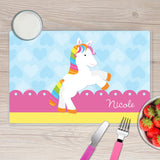 Cute Rainbow Pony Personalized Kids Placemat - Give Wink