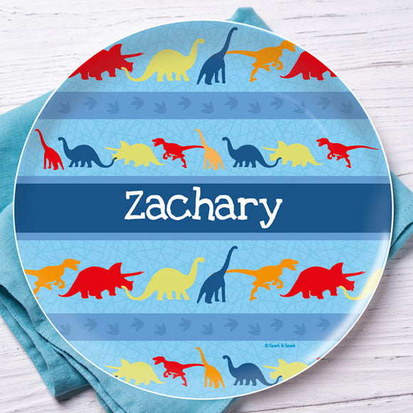 Dinosaur Trails Personalized Kids Plates - Give Wink