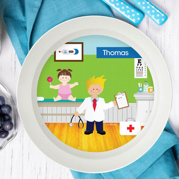 Doctor's Visit Boy Personalized Kids Bowl - Give Wink