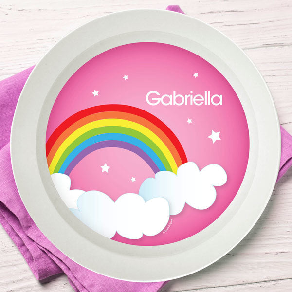Dreamy Rainbow Personalized Kids Bowl - Give Wink