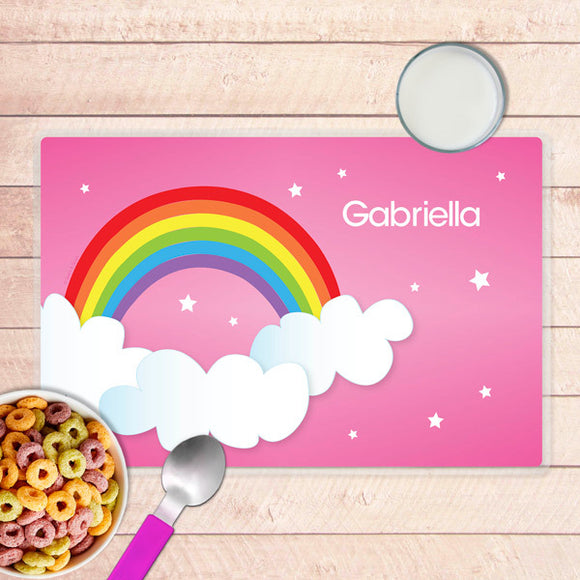 Dreamy Rainbow Personalized Kids Placemat - Give Wink